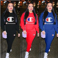 Champion Fashion Women Casual Logo Print Long Sleeve Hooded Top Trousers Set Two-Piece Sportswear