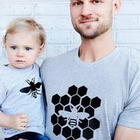 Father daughter, Father son shirt set bee hive