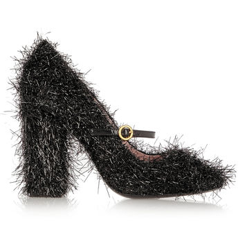 Boutique Moschino - Tinsel-covered leather Mary Jane pumps