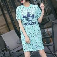 """""""Adidas"""" Sport Casual Sweet Floral Print Short Sleeve Middle Long Section T-shirt Dress"""