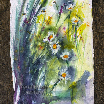 Chamomile Original Watercolor and Ink on Handmade Paper Painting by Ginette