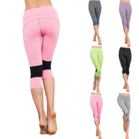 Women Capri Legging Yoga Cropped Pants Sports Athletic Gym Workout Fitness Pants