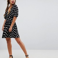 ASOS Casual Mini Tea Dress in Washed Spot at asos.com