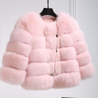 Winter New Fashion Pink faux Fur Coat Elegant Thick Warm Outerwear Fake Fur Jacket Chaquetas Mujer Mink Coats Women