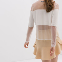 COMBINED BLOUSE WITH SHEER DETAILS