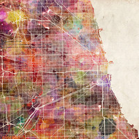 Chicago map Art Print by Map Map Maps