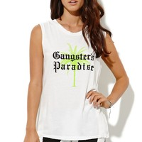 Petals and Peacocks Gangs Paradise Muscle T-Shirt - Womens Tee - White