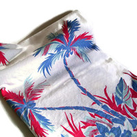 Vintage Retro Tablecloth, Flowers and Palm Trees, Red, Blue and White, Vintage Table