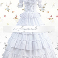 White Pleated Square Cotton Sweet Lolita Dress [T110613] - $73.00 : Cosplay, Cosplay Costumes, Lolita Dress, Sweet Lolita