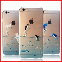 """2015 Popular Marine Animals Transparent Blue Dolphins Penguins Polar Bears Sink Case Cover for iphone 6 6s 4.7"""""""