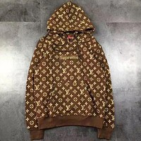 Supreme X Louis Vuitton Women or Men Fashion Casual Pattern Print Loose Top Sweater Pullover