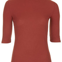 Ribbed Funnel Neck Top - Rust