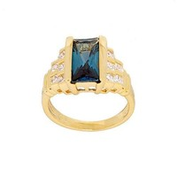 Contemporary Fancy Cut Blue Zircon Fashion Ring with Step Design