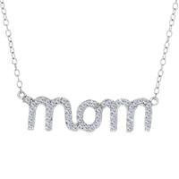 Mom Logo With Cz Necklace In Rhodium Plated Sterling Silver - 18 Inches