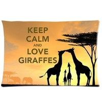Custom Animal Giraffe Love Rectangle Pillow Cases 20x30 (one side) Comfortable For Lovers And Friends