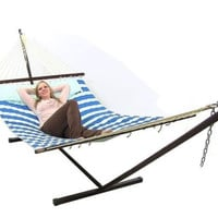 Hammock With Stand & Pillow Combo Royal Blue Quilted Double Fabric Outdoor Use