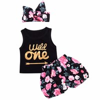 3pcs Set Infant Baby Girl Clothes Wild One Arrow Letter Print Vest Top Floral Shorts Bottom Headband Outfits Kid Girls Clothes