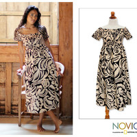 Floral Batik Dress - Bali Shadows | NOVICA