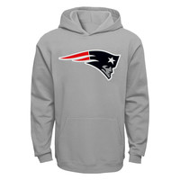 Youth New England Patriots Gray Primary Logo Pullover Hoodie
