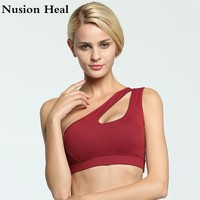 2018 Sexy One Shoulder Solid Sports Bra Women Fitness Yoga Bras Gym Padded Sport Top Athletic Underwear Workout Running Clothing