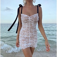 New style condole belt a word collar net gauze splice wrap hip joker show thin dress