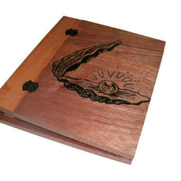 Custom Wooden Scrapbook - Woodburnt With Your Design  - Standard 8.5x11 Pages