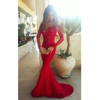Lace Satin Red Long Sleeve Prom Dresses