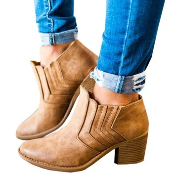 Women Ankle Boots Block High Heels Retro Leather Booties