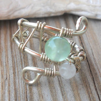 Jade,Rainbow Moonstone Wrapped Silver Wire Ring