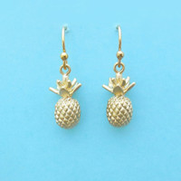 Tiny, Pineapple, Gold, Earrings, Jewelry, Simple, Dangle, Drop, Cute, Minimal, Gift, Birthday, Earrings, Christmas, Earrings