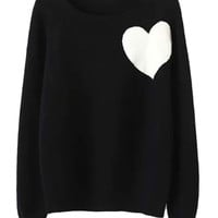Black Heart Pattern Knitted Sweater