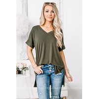 Back To The Basics Oversized Top | Moss Green