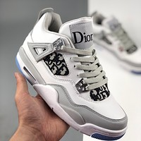 DIOR Air Jordan 4 RETRO AJ4 men's and women's printed high-top basketball shoes sneakers