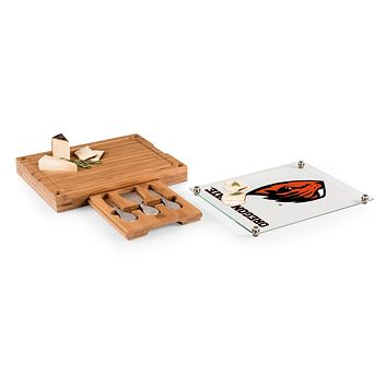 Oregon State Beavers - Concerto Glass Top Cheese Cutting Board & Tools Set, (Bamboo)