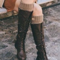 Cable Knit Leg Warmer with Button