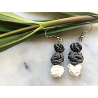 Handmade Minimal  Grey Marbled and White Polymer Clay Spagetti Earrings