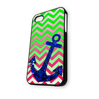 Anchor Green Pink Blue Bling iPhone 5/5S Case