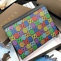 GUCCI New fashion multicolor star more letter pirnt cosmetic bag file package bag handbag Black