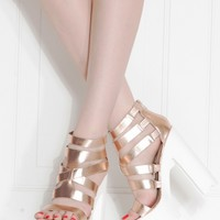 Rose Gold Faux Leather Strappy Lug Sole Heels @ Cicihot Heel Shoes online store sales:Stiletto Heel Shoes,High Heel Pumps,Womens High Heel Shoes,Prom Shoes,Summer Shoes,Spring Shoes,Spool Heel,Womens Dress Shoes