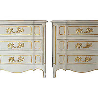 French Painted & Gilded Dressers, Pair
