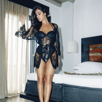 Roma Sheer Romper Padded Top Teddy Lace Front