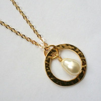 Gold Eternity Necklace w/ Pearl, Wedding Jewlery, Bridesmaid Gift, Maid of Honor Gift, Mom, Sister, Bridal Jewelry