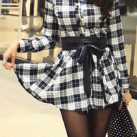 Plaid Long Sleeve Button-Up Dress with Belt