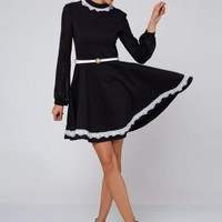 Lace Color Block Lantern Sleeve Women's Long Sleeve Dress