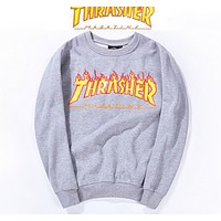 Thrasher Street skateboard - hip hop flame letters hooded sets of cotton men and women Grey