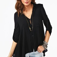 Draped Pocket Blouse - Black in  Clothes Tops at Nasty Gal