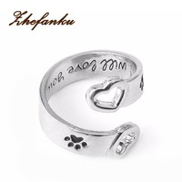 I Will Love You Forever Letter Curved Pet Paw Prints Rings Dog Cat Memorial Black Enamel Ring Couple Jewelry