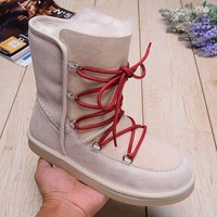 LFMON UGG 1007710 Mid Women Fashion Casual Wool Winter Snow Boots Off-White