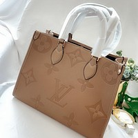 Louis Vuitton LV Fashionable solid color embossed letters ladies handbag shoulder bag
