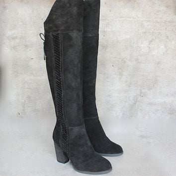Final Sale - Sbicca - Gusto Over the Knee Suede Leather Boots in Black